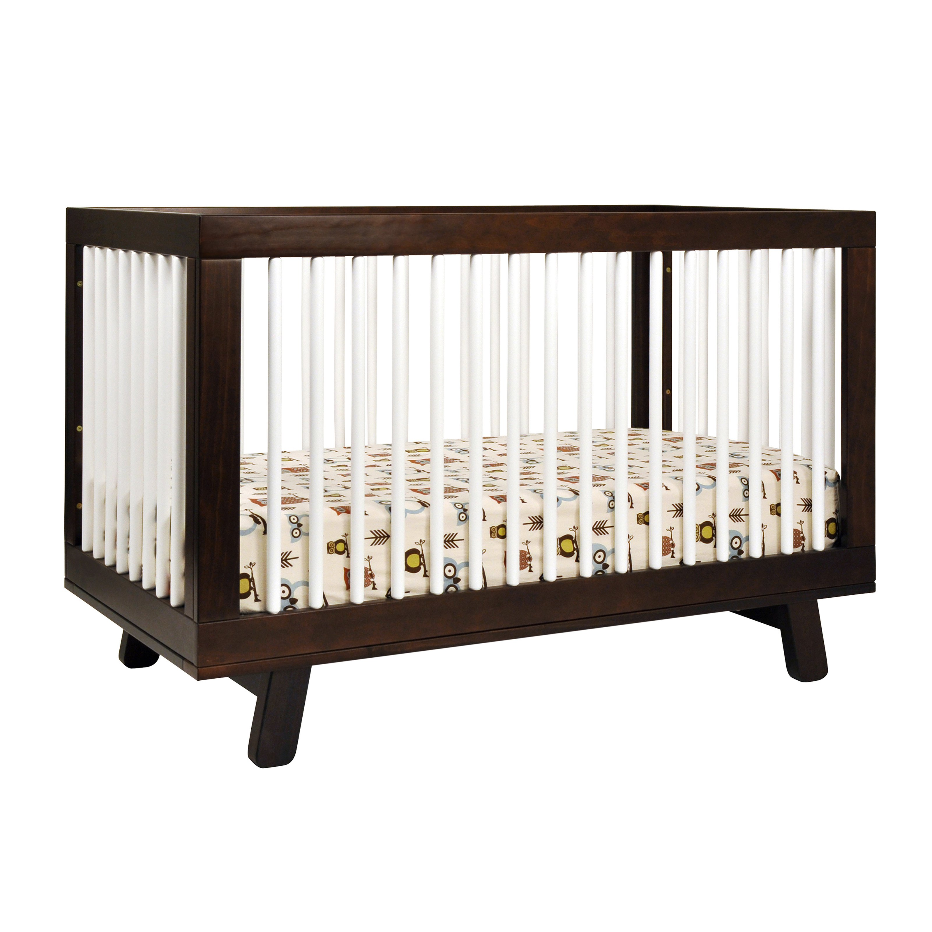 Babyletto Hudson 3-in-1 Convertible Crib with Toddler Rail, Espresso/White