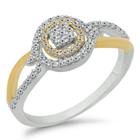 Dazzlingrock Collection 0.35 Carat (ctw) 14K White & Two Tone Diamond Cluster Engagement Ring 1/3 CT, Yellow Gold, Size 4