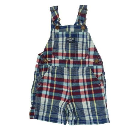 - Osh Kosh Bgosh Infant Boys Blue Red Checked Plaid Shortall Overall Shorts