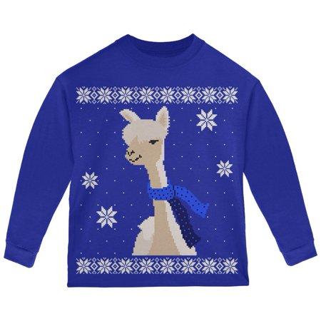 Big Alpaca Scarf Ugly Christmas Sweater Toddler Long Sleeve T Shirt ()