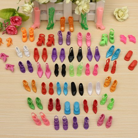 80Pcs 40 Pairs Multiple Styles Doll Shoes Different High Heels For Doll Dresses Clothes