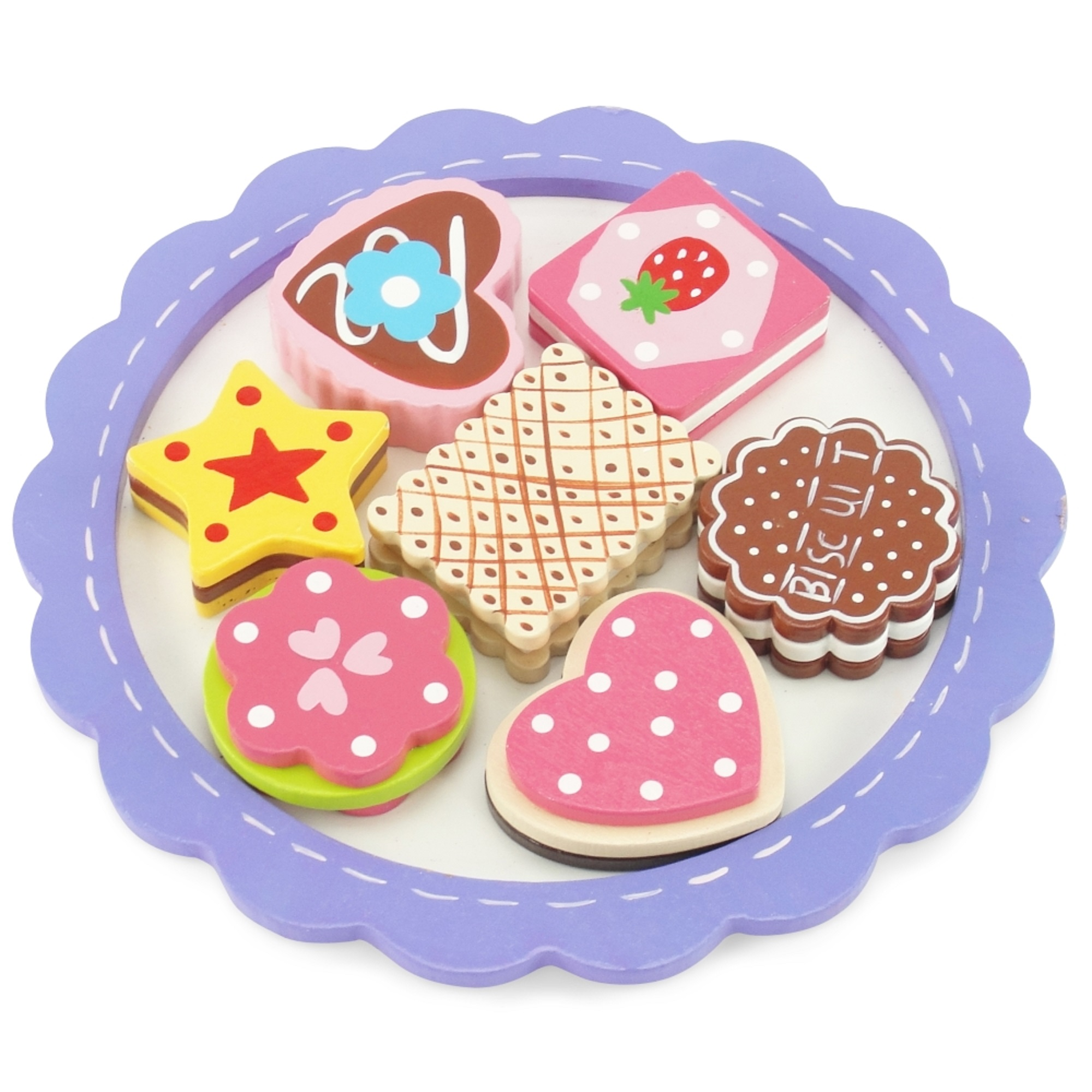"""18-inch Doll Food Accessories   8-piece Cookie Tray with Assorted Hand-painted Wooden Cookies   Fits 18"""" American Girl Dolls"""