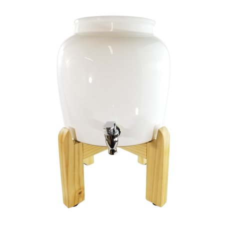 Premium Solid White Porcelain Water Crock Dispenser & Wood Counter Stand Set – Elegant Countertop Dispenser With 2.5 Gallon Capacity & No Drip Faucet, Includes Levelers – Easy Assembly Capacity Direct Draw Beer Dispenser