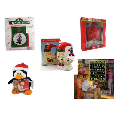 Christmas Fun Gift Bundle [5 Piece] - Traditions Soldier Cross Stitch - Deck The Halls Red Star Tree Topper 11.5