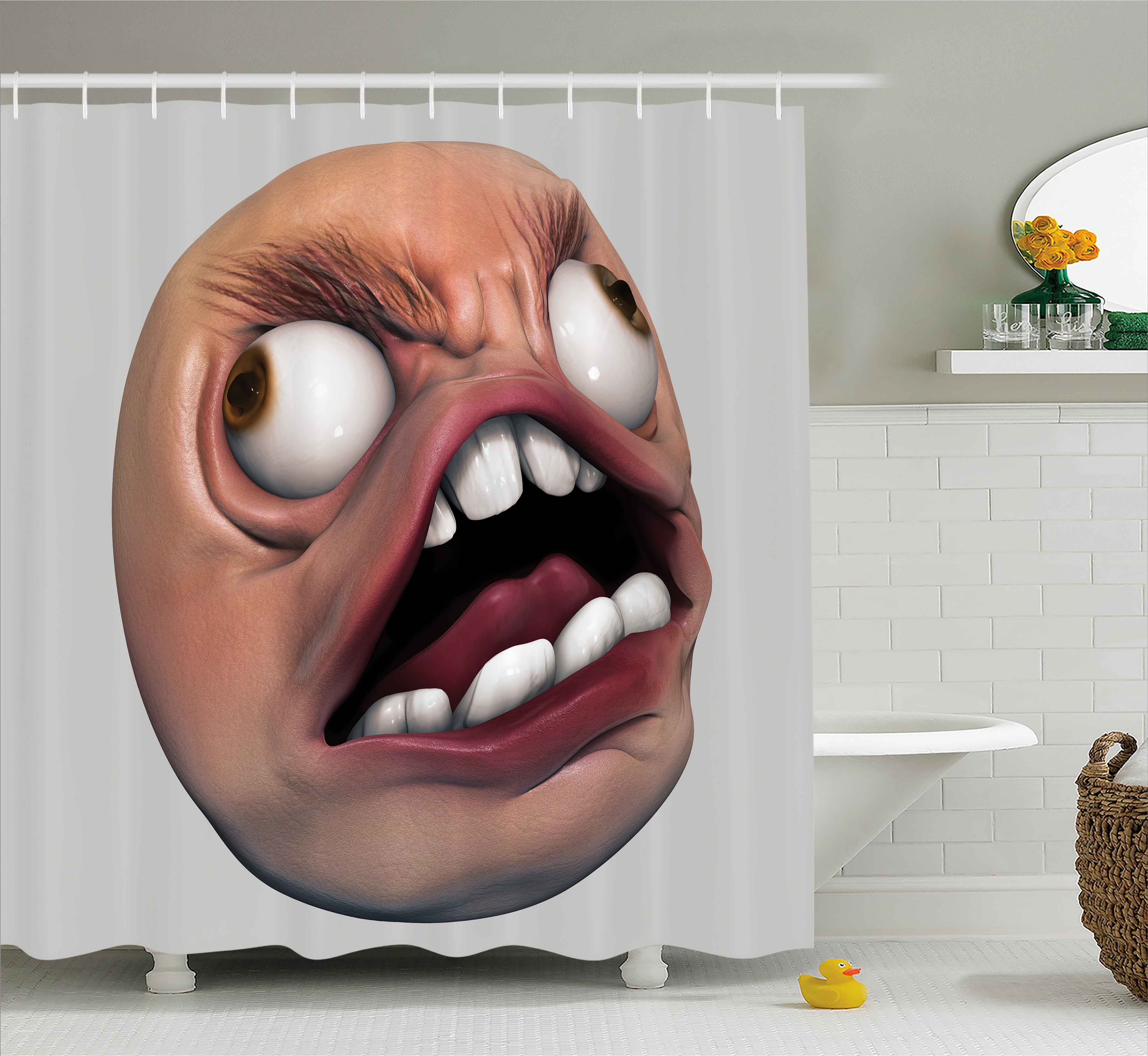 Humor Shower Curtain Angry Rage Guy Meme Bad Hair Day Late Work