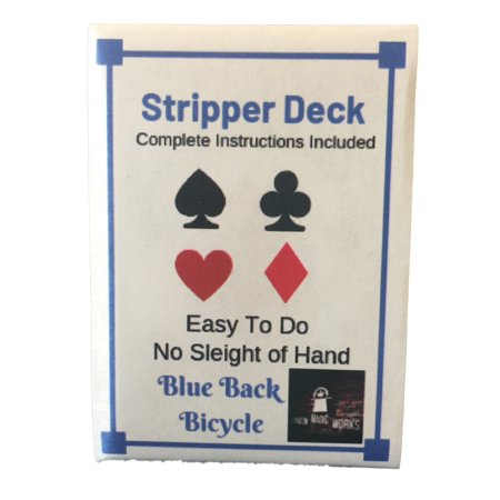 - London Magic Works Bicycle Stripper Deck (Red or Blue) Includes 100 Plus Tricks- Classic Card Tricks That Are Sure to Amaze Your Audience (Blue)