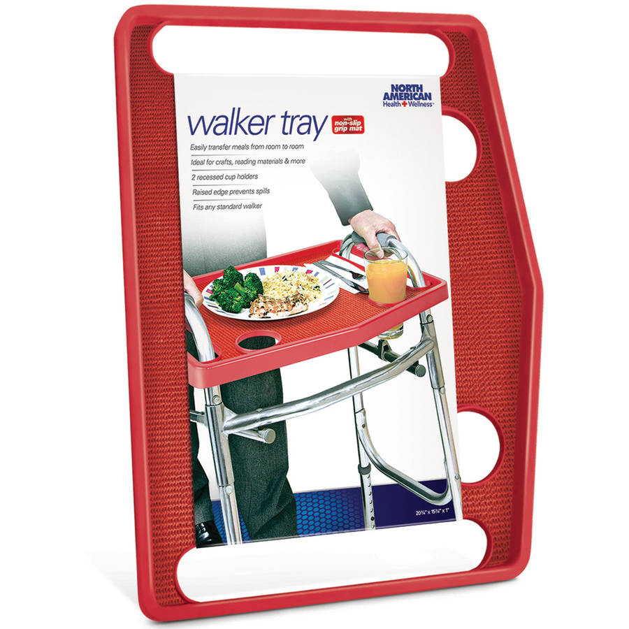 North American Health + Wellness Walker Tray with Grip Mat, Red