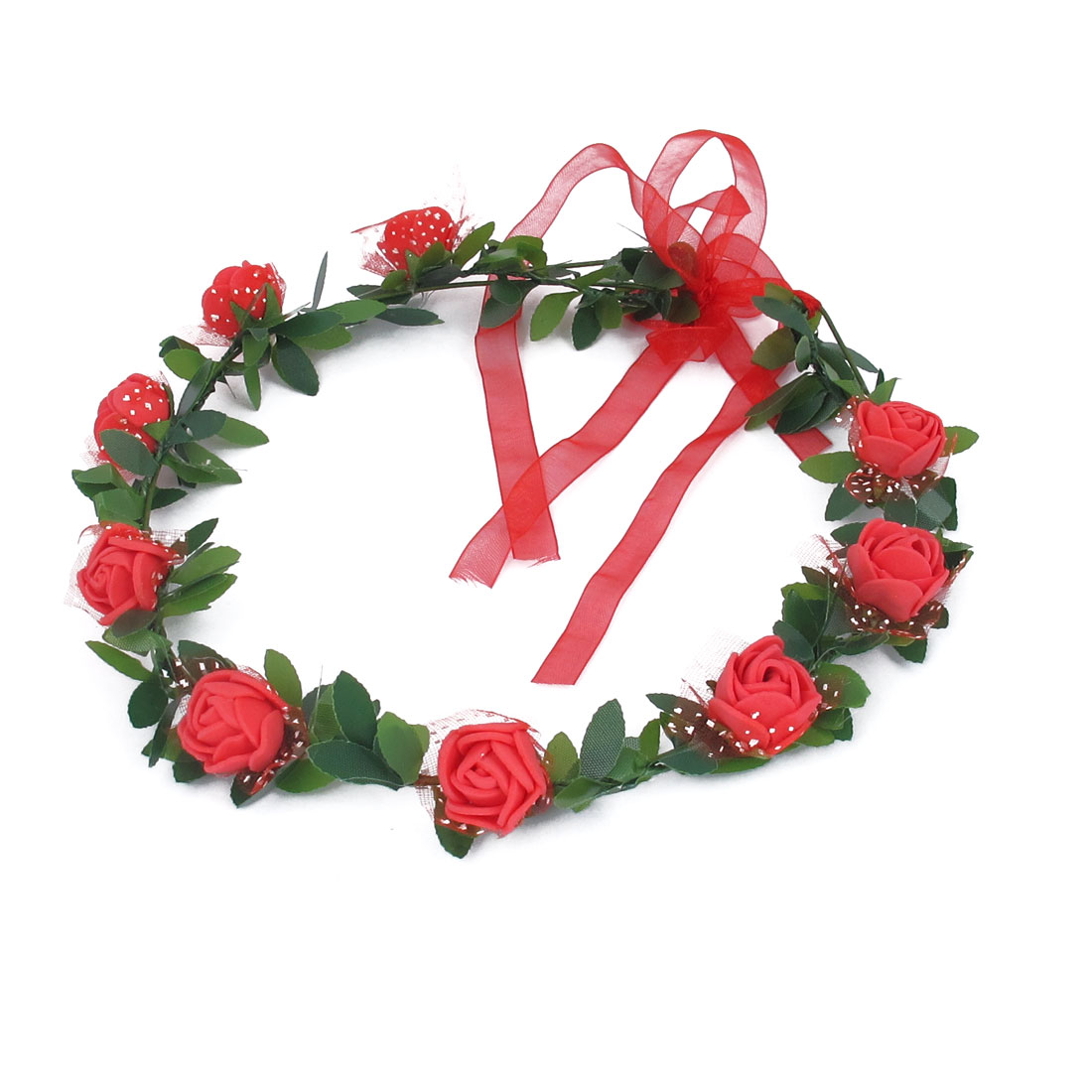 Lady Wedding Party Flower Decor Adjustable Headdress Hair Crown Wreath Red - image 3 de 3