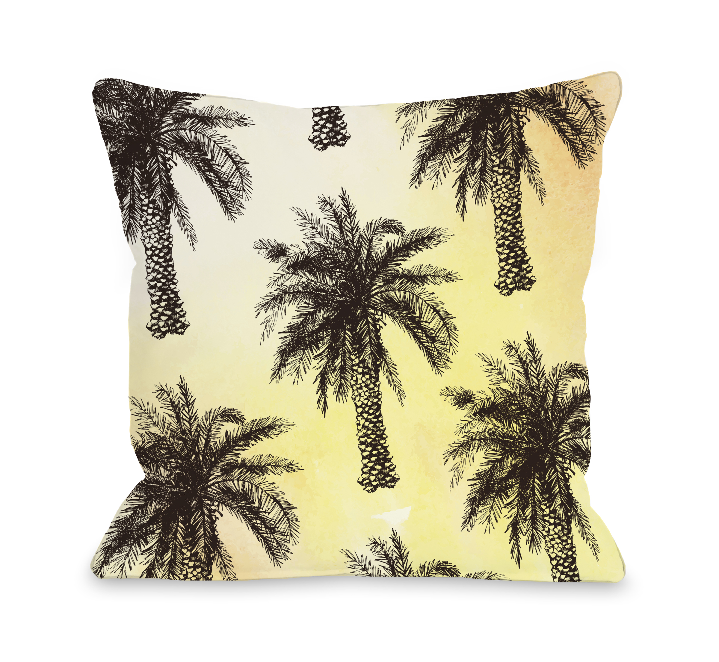 Palm Tree Pattern - Yellow 18x18 Pillow by OBC