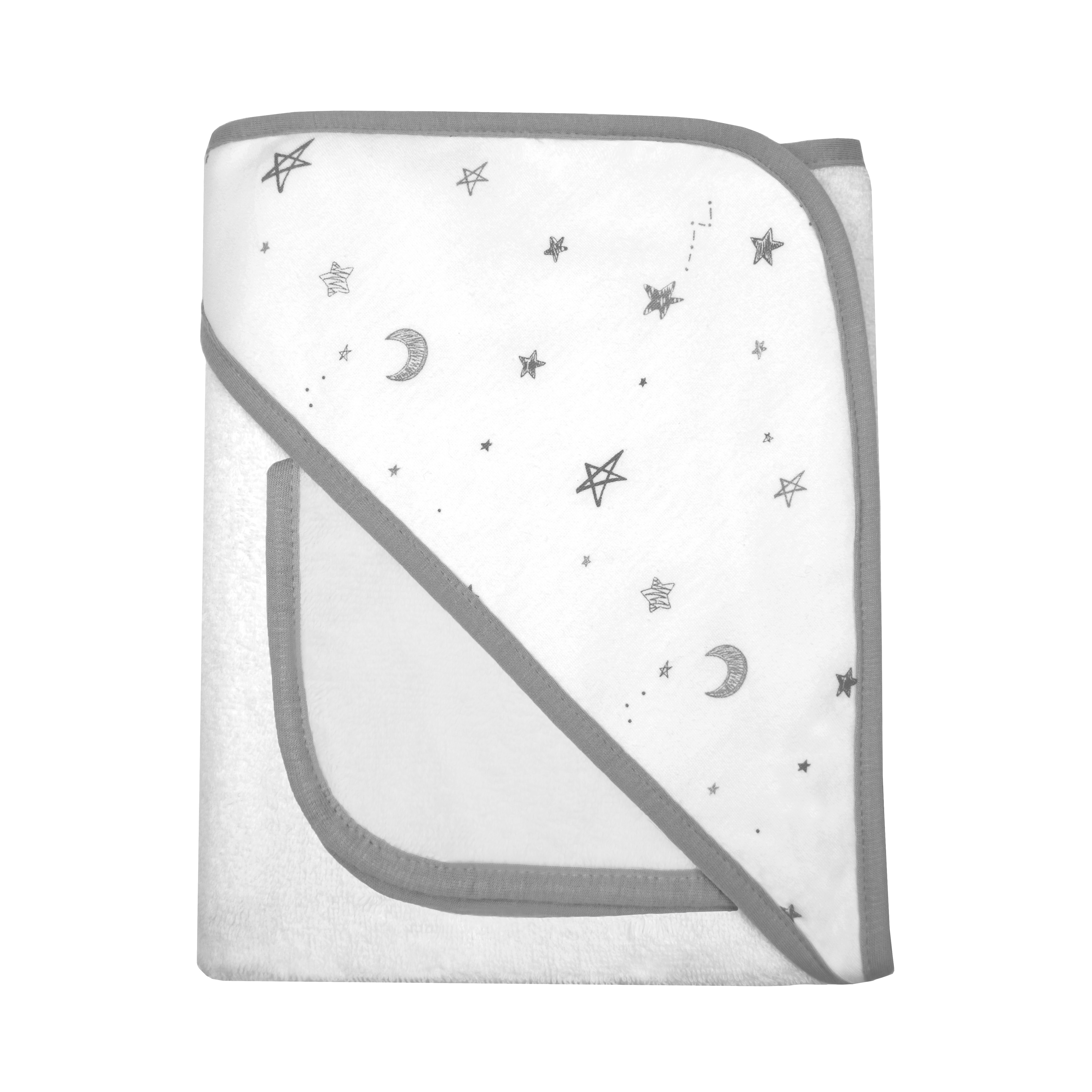 American Baby Company Terry Hooded Towel Set made with Organic Cotton, Grey Stars and Moon
