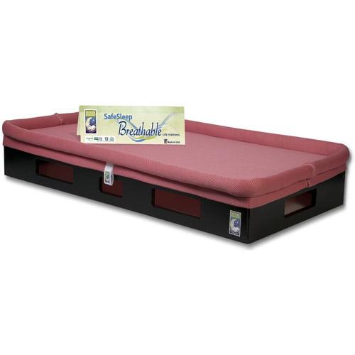 SafeSleep Breathable Crib Mattress, Espresso Base, Fuchsia Surface