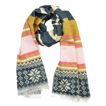 Sassy Scarves Women's Stripes and Snowflake Design Fringe Oblong Scarf