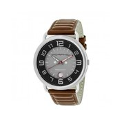 Morphic M49 Series Leather-Band Swiss Watch W/ Magnified Date - Brown/Grey