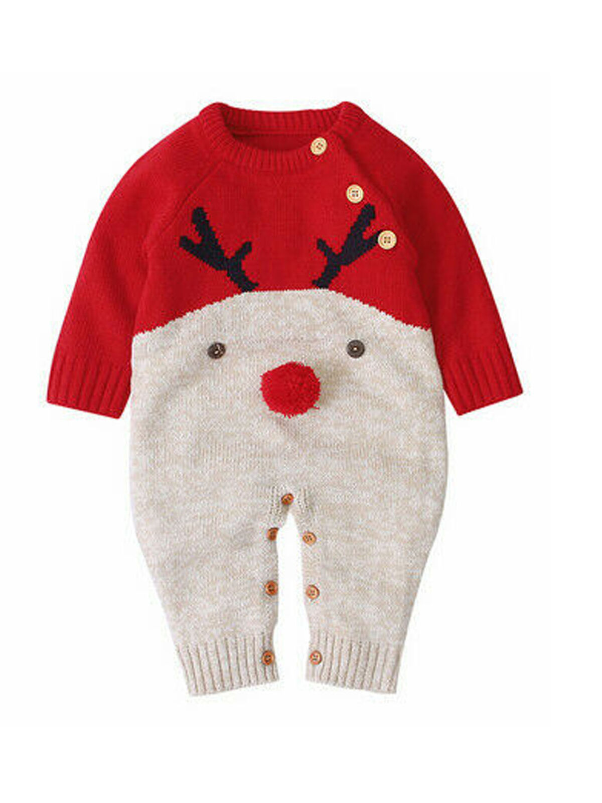 Boys Girls Boys Sweater Overall Long Sleeve Baby Christmas Jumper Winter Reindeer Outfit Jumpsuit for 4-22 Month HOMEBABY Baby Christmas Deer Warm Rompers
