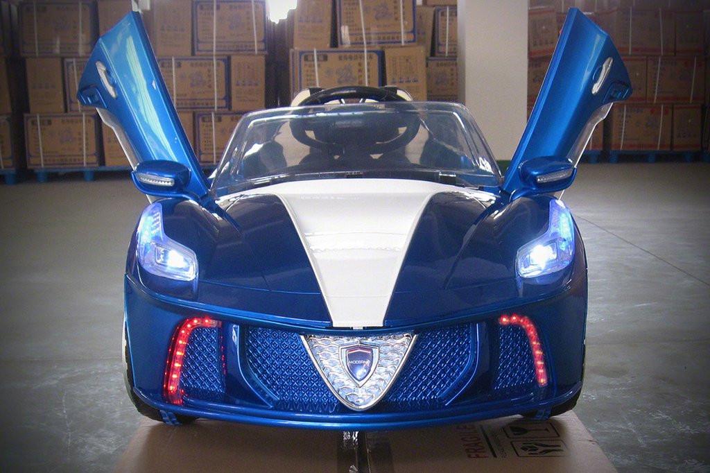 Ferrari Spider Style Kids Ride-On Car MP3 12V Battery Power Wheels R C Parental Remote   Blue by