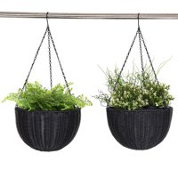 Costway Set Of Two 13.8'' Round PE Rattan Garden Plant Hanging Planters Decor Pots Black
