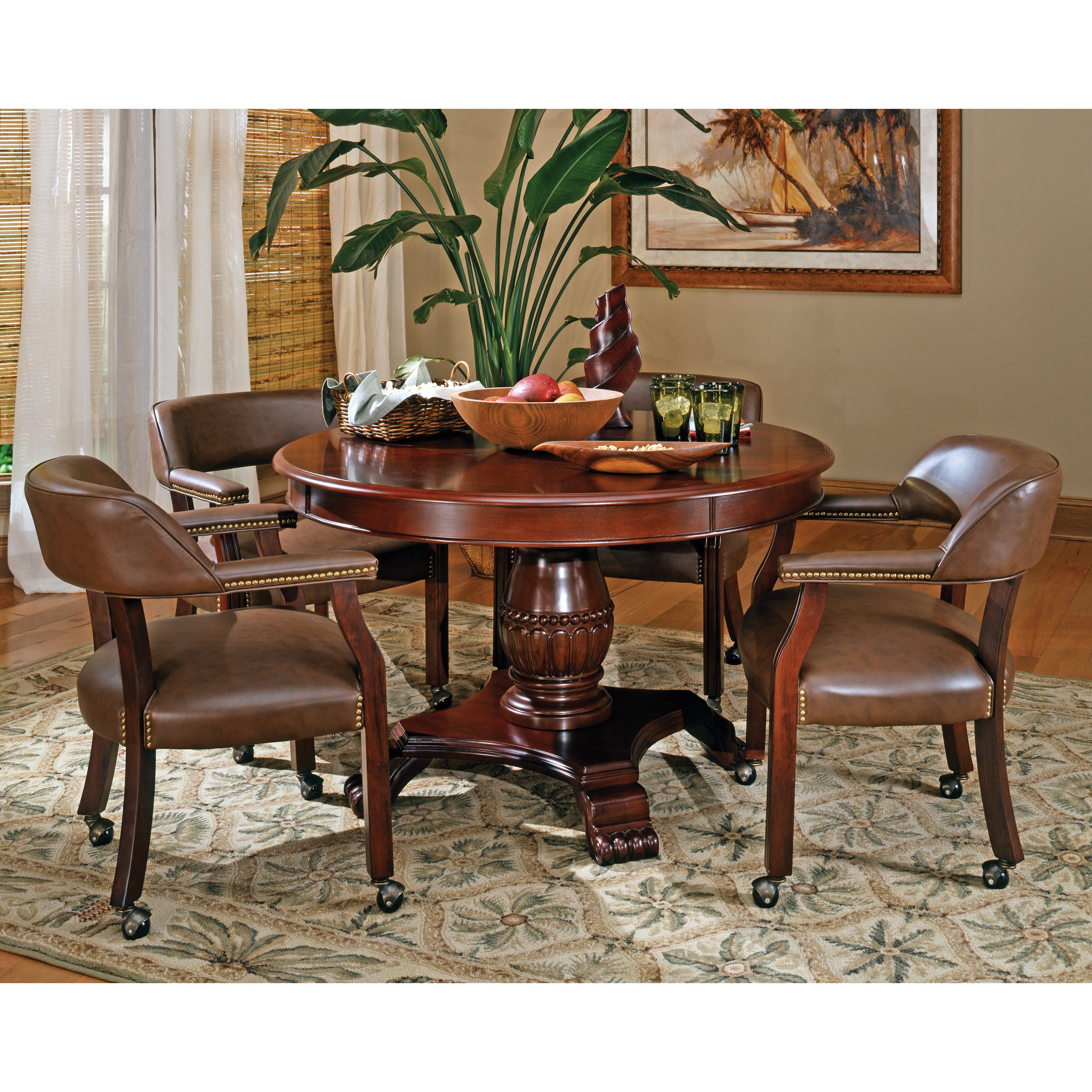 Steve Silver 5 Piece Tournament Dining Game Table Set With Caster Chairs    Cherry
