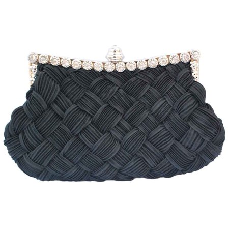 Rhinestone Drawstring (Chicastic Pleated and Braided Rhinestone studded Wedding Evening Bridal Bridesmaid Clutch Purse -)