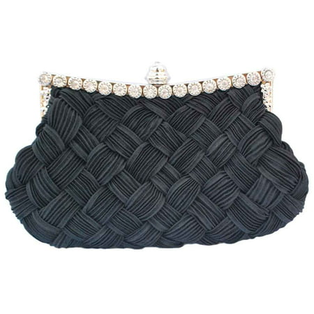Black Silk Clutch - Chicastic Pleated and Braided Rhinestone studded Wedding Evening Bridal Bridesmaid Clutch Purse - Black