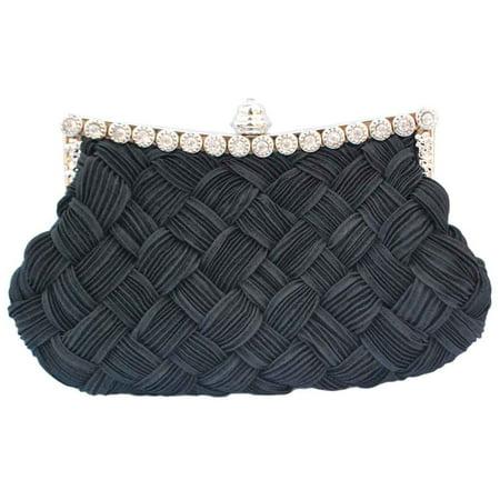 Pleated Handbag (Chicastic Pleated and Braided Rhinestone studded Wedding Evening Bridal Bridesmaid Clutch Purse - Black )