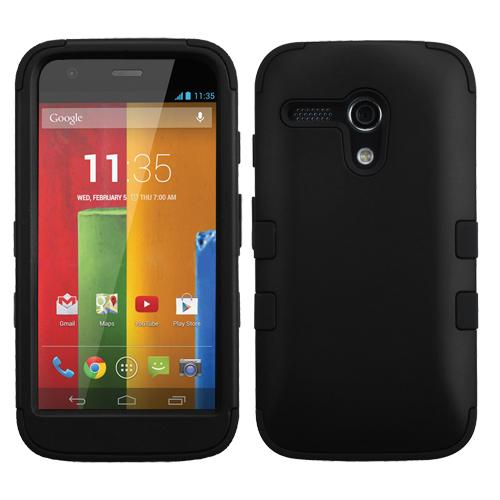 Motorola Moto G MyBat TUFF Hybrid Phone Protector Cover, Rubberized Black/Black