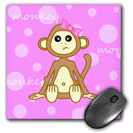 3Drose Pink Baby Monkey Girl  Mouse Pad  8 By 8 Inches