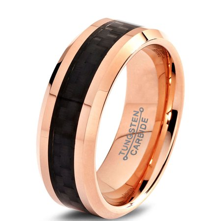 Charming Jewelers Tungsten Wedding Band Ring 8mm for Men Women Comfort Fit 18K Rose Gold Plated Plated Black Carbon Fiber Beveled Edge Polished Lifetime Guarantee - Golden Ring Walmart