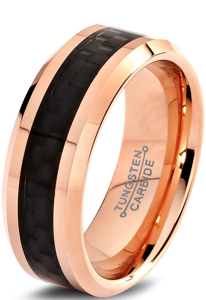 Charming Jewelers Tungsten Wedding Band Ring 8mm for Men Women Comfort Fit 18K Rose Gold Plated Plated Black Carbon Fiber Beveled Edge Polished Lifetime Guarantee
