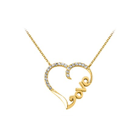 Pure Diamond Love Heart Pendant in 14K Yellow Gold