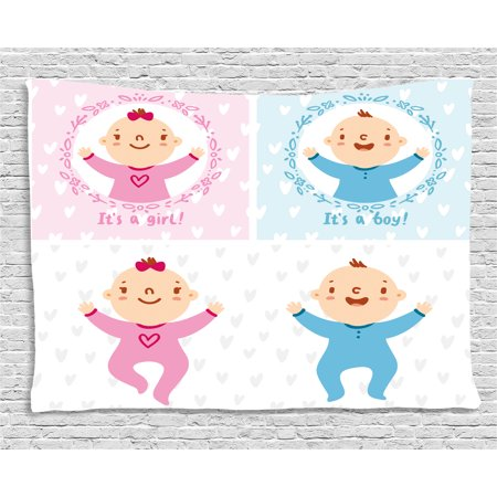 Gender Reveal Decorations Tapestry, Baby Boy Girl Infants Newborn Celebration Hearts Theme, Wall Hanging for Bedroom Living Room Dorm Decor, 80W X 60L Inches, Light Pink Sky Blue, by Ambesonne