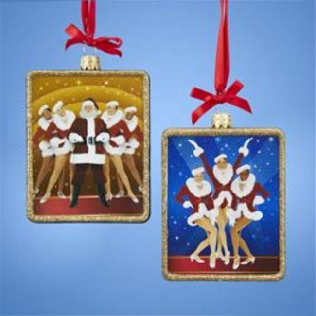 Kurtadler 1914626 Rockettes Glass Rectangle Ornament - 2 Assorted - Case of 48