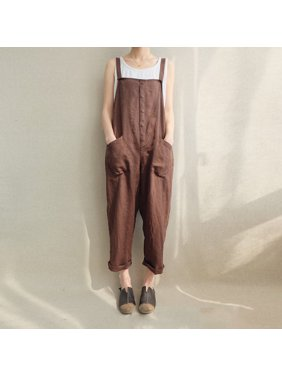Women Sleeveless Loose Jumpsuit Strappy Dungaree Bib Casual Pants Long Overalls