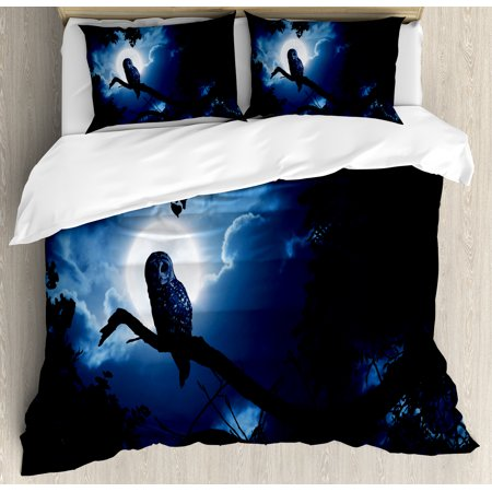 Night Duvet Cover Set, Quiet Night in the Woods Full Moon Tall Trees and Owl on Branch Tranquil Scene, Decorative Bedding Set with Pillow Shams, Black Blue White, by Ambesonne (Scene Bedding)