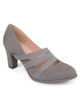 Brinley Co. Womens Faux Suede Comfort Sole Chunky Heel Almond Toe Triple Elastic Strap Heels