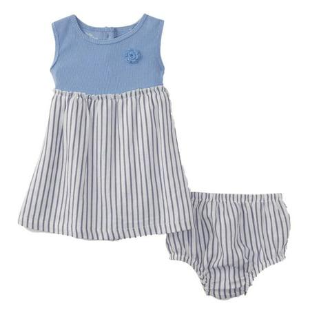 Infant Girls 2 PC Baby Outfit Blue Striped Sundress Dress & (Sundress Set)