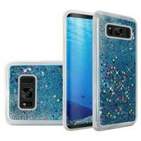 Samsung Galaxy S8 Case, Premium Luxury Glitter Sparkle Bling Hybrid Quicksand Designer Case for Samsung Galaxy S8 SM-G950U, Light Blue