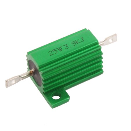 Ohm 25 Watt Wirewound Resistor - Green 25 Watt 3.9K Ohm 5% Aluminum Housed Wire Wound Resistor