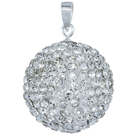 Disco Ball Necklaces (Sterling Silver White Crystal Disco Ball Pendant)