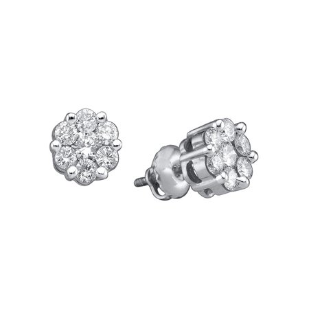 14k White Gold Womens Round Diamond Flower Cluster Stud Earrings 1.00 Cttw - image 1 of 1
