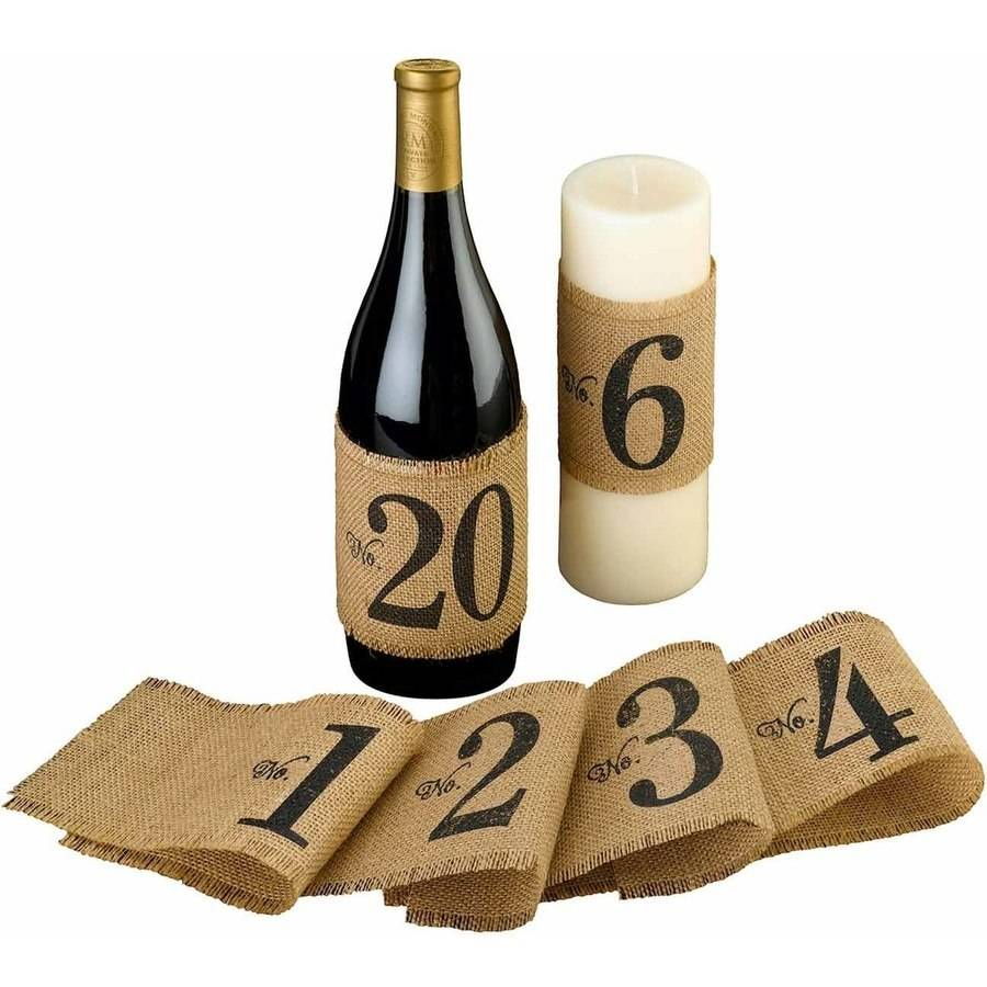 Burlap Table Number Wraps, Numbers 1-20
