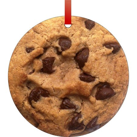 Christmas Holiday Cookie Ornament - Chocolate Chip Cookie Flat Round - Shaped Christmas Holiday Hanging Tree Ornament Disc Made in the U.S.A.
