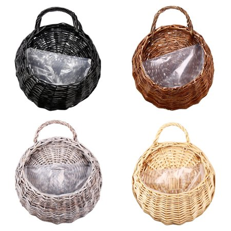 Moaere Hot Sale Handmade Rattan Flower Pot Plant Stand Holder DIY Home Wall Hanging Seagrass Woven Wicker Basket Decor ()