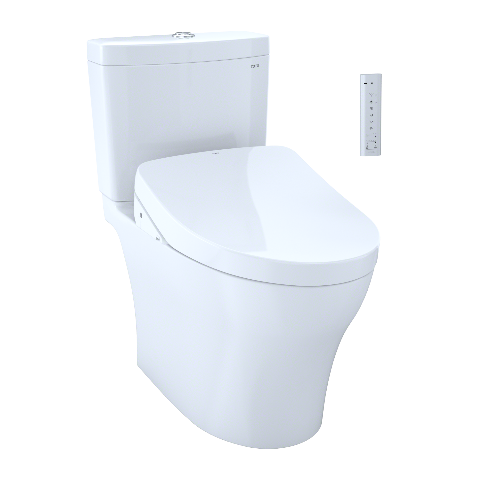 TOTO WASHLET+ Kit Aquia IV 1G Two-Piece Elongated Dual Flush 1.0 and 0.8 GPF Toilet and Contemporary WASHLET S550e Bidet Seat, Cotton White - MW4463056CUMG#01
