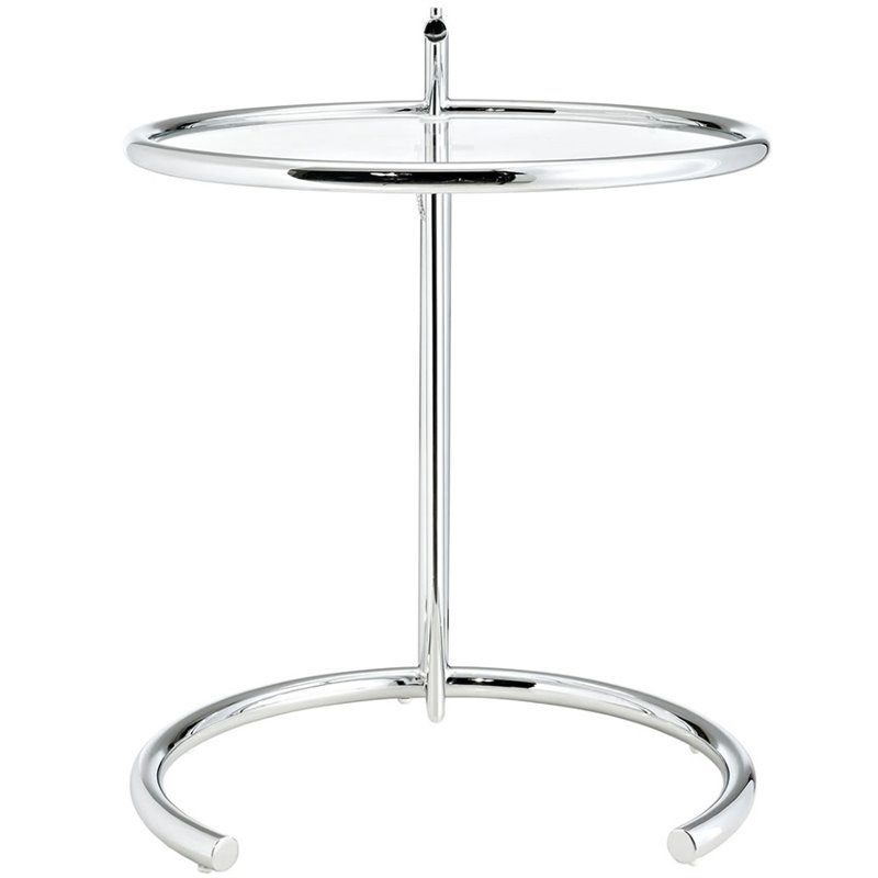 Hawthorne Collection Glass Top Adjustable End Table in Silver - image 2 de 5