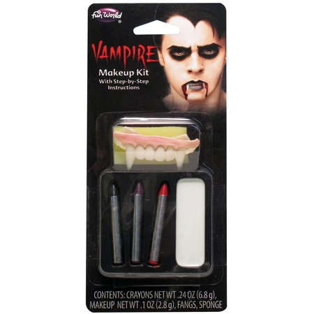 Fun World Count Vampire 6pc One Size Makeup Kit, White Black Red