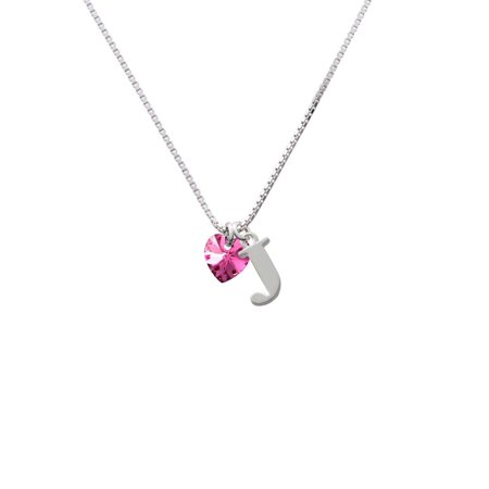 Hot Pink Crystal Heart - J - Initial Necklace