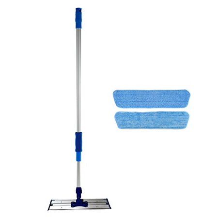 16 inch Professional Commercial Microfiber Mop With Two 16 inch Microfiber Mop Pads and Aluminum Mop Frame and Handle
