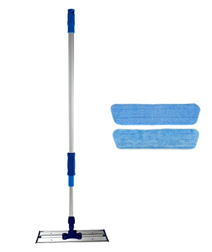 Real Clean 16 inch Professional Commercial Microfiber Mop With Two 16 Microfiber Mop Pads and Aluminum Mop Frame and Handle