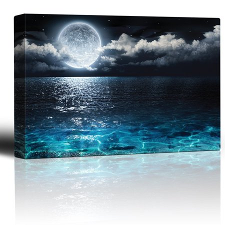wall26 - Moon Illuminating The Clear Ocean Blue - Canvas Art Wall Decor -12