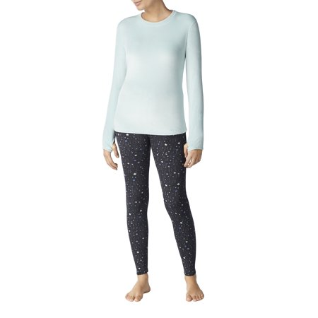 64bbfc79f53e71 ClimateRight by Cuddl Duds - Stretch luxe velour Warm Underwear Top and  Legging - Walmart.com